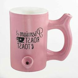 Roast and Toast Coffee Mug with Pipe for Smoking, Pink with