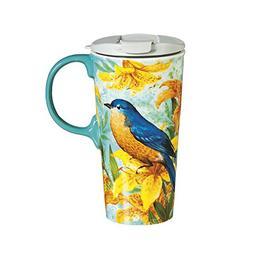 Cypress Home Robin Bird Trio Ceramic Travel Coffee Mug, 17 o
