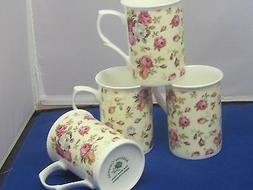 ROSE BASKET SET 4  MUGS MADE IN ENGLAND ADDERLEY CERAMICS FI