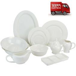 Round Rim 32-Piece Bone China Dinnerware Set FREE SHIPPING
