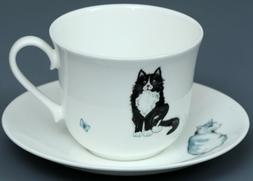 ROY KIRKHAM CAT Fine Bone China BREAKFAST Cup/Saucer Set #1
