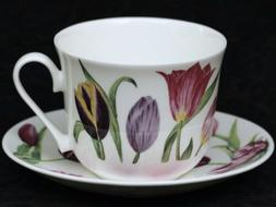 ROY KIRKHAM TULIPS Fine Bone China Breakfast Cup & Saucer Se