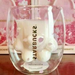 sakura cat paw glass cup coffee milk