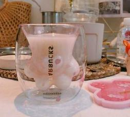 Sakura Cat Paw Glass Cup Coffee Milk Mug Pink Cat's Paw For