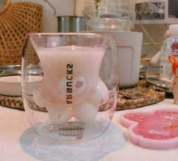 Sakura Cat Paw Glass Cup Coffee Milk Pink Mug for Doubl Wall