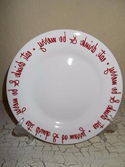 Ciroa Fine Bone China Salad Plates Red Eat Drink Be Merry Se