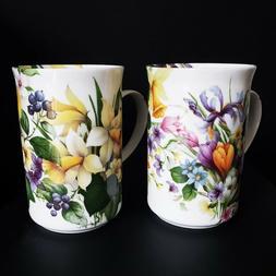 Set 2 Fine Bone China England Coffee Mugs Floral Design St G