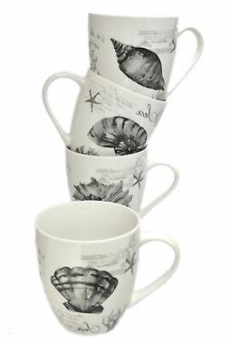 Set 4 Assorted Design 16oz Bone China Sea Shells Conch Nauti
