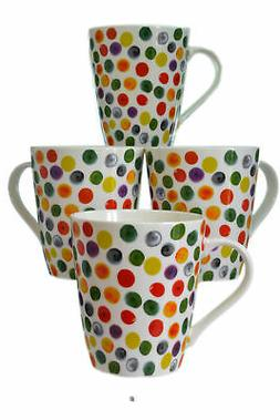 Set 4 Fine Bone China 17oz Colorful Polka Dots on White Tea