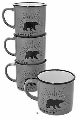 Set 4 Grey Bear Cabin Decor 13oz Vintage Enamel-Look Ceramic