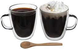 Artisan Glassworks 2-Pc Set Double Wall Coffee Cups Borosili