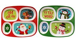 Set of  Melamine Divided Kids Trays - Christmas/winter
