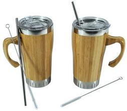 Set of 2 - 16 oz Bamboo Travel Mug with Handle, Leak Proof L