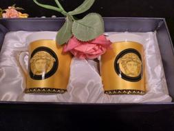 Set of 2 Bone China Yellow & Gold Greek Key Motif Versailles