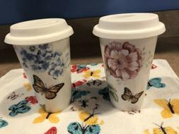 Set Of 2 Lenox Butterfly Meadow Travel Porcelain Thermal Mug