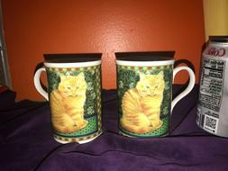 Set of 2 Cute CROWN TRENT Fine Bone China CAT Mugs CUPS