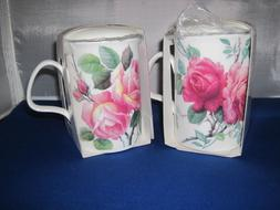 Set of 2 ENGLISH ROSE Infuser mugs, Fine Bone China MadeEngl