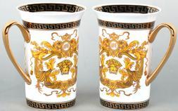 Set of 2 Euro Porcelain Medusa Fine Bone China Coffee Tea Mu