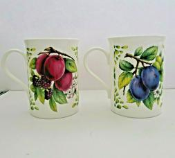 Set of 2 New Crown Trent Coffee Tea Mugs Fruit Pattern Fine