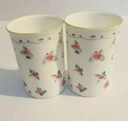 Set of 2 Rose of England Pink Roses Floral Fine Bone China M