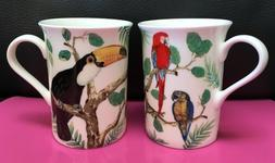 SET of 2  STECHCOL GRACIE BONE CHINA PORCELAIN MUG TROPICAL