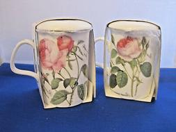 Set of 2 REDOUTE ROSE Infuser mugs, Fine Bone China MadeEngl