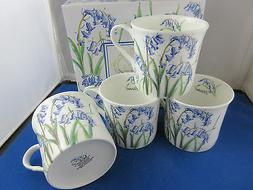 SET OF  4  BLUEBELL 10oz FINE BONE CHINA MUGS, GIFT BOX from