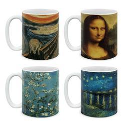 Set of 4 Famous Artwork By Van Gogh Ceramic Coffee Mug Cup W