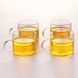 Set of 4 Glass Tea Cups 4oz/120ml Glass TeaCup Coffee Mug wi