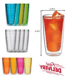 Plastic Tumblers Double Wall Insulation Set of 4 Pcs 24oz for Hot /& Iced Drinks