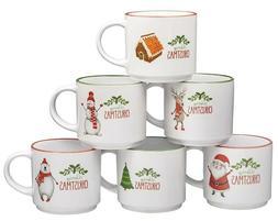 Set of 6 Large-sized 14 Ounce Ceramic Coffee Mugs Christmas