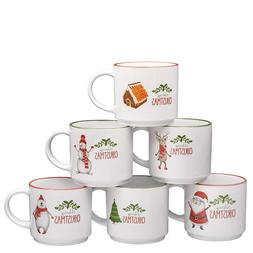 Set of 6 Large-sized 14 Ounce Ceramic Coffee Mugs Christmas