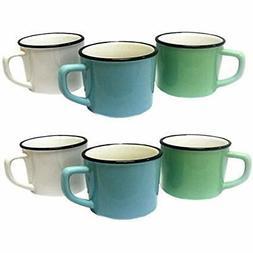 "Set Of 6 Retro ""Enamelware"" Style Porcelain Coffee Mugs - Mi"