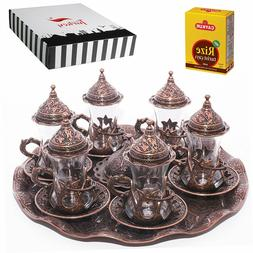 Turkish Tea Glasses Set Saucers Holders  Decorated