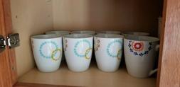 Set of 8 colorful coffee mugs
