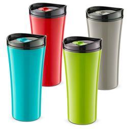 Set of FOUR color Travel coffee mug. Double wall  travels mu