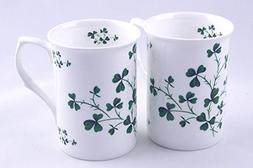 Set of Two Fine English Bone China Mugs - Irish Shamrock Chi