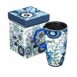 Shades of Indigo Flowers and Butterflies Ceramic Travel Coff
