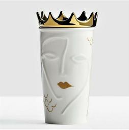 STARBUCKS Siren White Gold Crown Ceramic Travel Coffee Mug 1