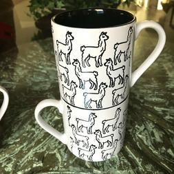 Graydon Hall Stackable LAMA Coffee Mug Set BLACK & White Cof