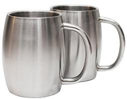 Stainless Steel Coffee Beer Tea Mugs - 14 Oz Double Walled I