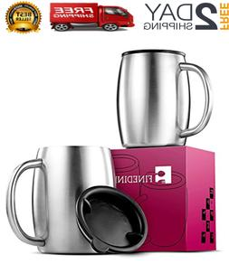 Stainless Steel Coffee Mugs with Lids  Double Walled BPA Fre