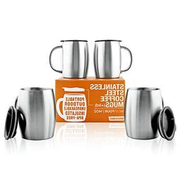 Stainless Steel Coffee Mugs with Lid  -14 oz Double Walled C