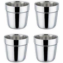 TeamFar Coffee Cup Espresso Cup Mug Set of 4, Double Wall St