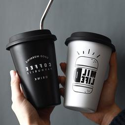 Stainless Steel Cups with Lid Straw Cup Sleeve 450ML Metal D