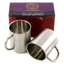 Stainless Steel Double Wall Coffee Cups/Coffee Mugs 12-Ounce