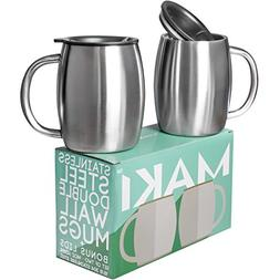 Stainless Steel Double Wall Mugs - Perfect for Coffee, Tea,