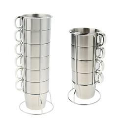 Camping Cooking Supplies Stainless Steel Tea Coffee Water Cup Mug Drinking Set with Metal Stand Rack