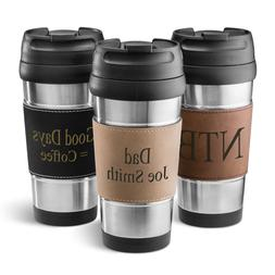 STAINLESS STEEL TRAVEL MUG COFFEE TUMBLER w/ Personalized Le