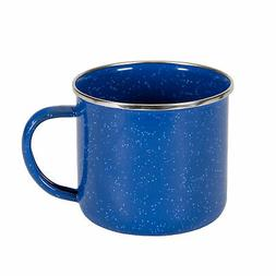 STANSPORT ENAMEL COFFEE CUP MUG BLUE STAINLESS STEEL RIM CAM